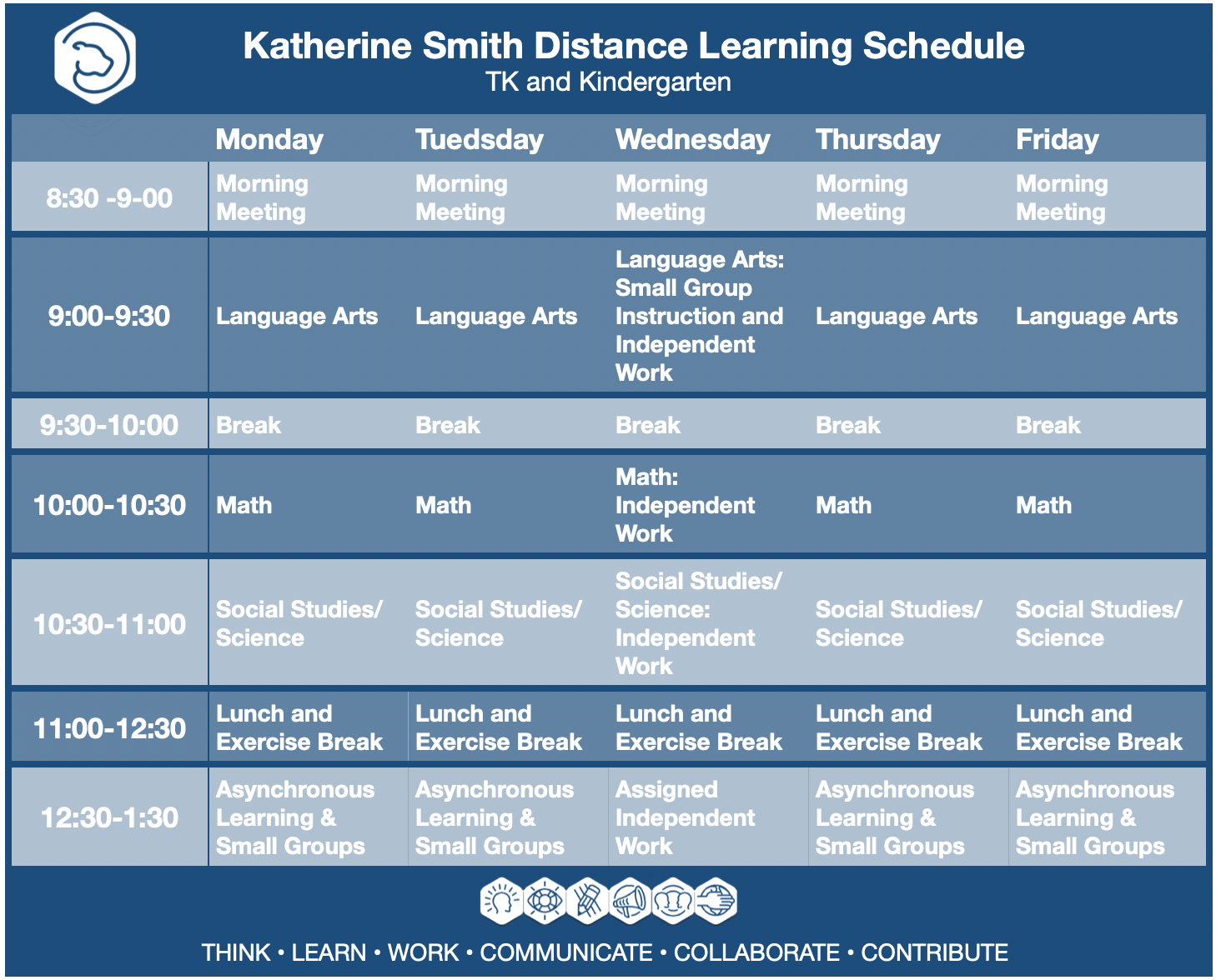 Distance Learning Schedule Tk-K